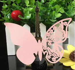 Wholesale Marriage Card Decoration - 50pcs lot Laser Cut Wedding Party Pearl Paper Table Name Place Cup Cards hollow Butterfly Design Wedding Favors Party Supplies