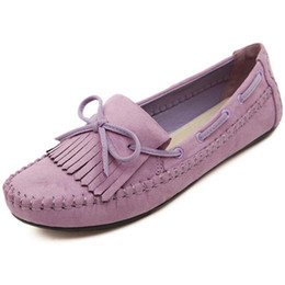 Wholesale Women Tassel Loafers - Plus Size Women Flats Bow Tassels Slip On Casual Shoes Woman Spring Autumn Single Shoes Female Loafers
