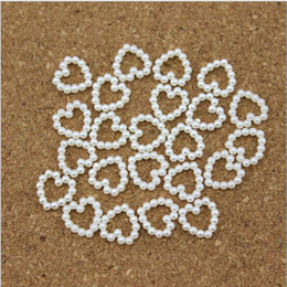 Wholesale Craft Phone - White Pearl Beads Shaped Heart DIY Hairpin Accessories Pearl Phone Wedding Cardmaking Craft 11mm*11mm 2016 HOT