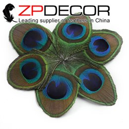 Wholesale Peacock Feathers Accessories - ZPDECOR Wholesale Original 50pcs lot 10-12cm(4-5 inch)Natural Trimmed Peacock Tail Feather Eye For Jewelry Costumes Hair Accessories