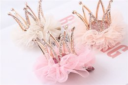 Wholesale Wool Head Flower - Wholesale- Upscale Princess Hair Accessories Children Headdress Head Flower Lace Three-dimensional Rhinestone Crown Hairpin Girl Party Gift