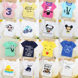 Wholesale Cheap Cotton Tees - Summer Baby T-shirts Boys Girls Cartoon Cotton Tops Tees Solid Color Short Sleeve T-shirt Kids Clothes Cheap Free DHL 182