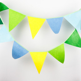 Wholesale Baby Birthday Decor - Wholesale- 12 Flags - 3.2M Multi Blue Colour Felt Banners Customize Wedding Bunting Decor Party Birthday Baby Show Garland Decoration