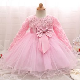Wholesale Kids Big Tutu Dresses - Kids Clothing Girls Dresses Princess Tutu Skirt Flower Lace Long Sleeve Big Bow High Quality Children Clothes