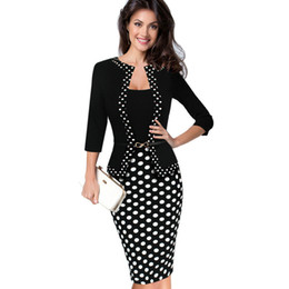 Wholesale Womens Office Jacket - New Womens Autumn Retro Faux Jacket One-Piece Polka Dot Contrast Patchwork Wear To Work Office Business Sheath Dress