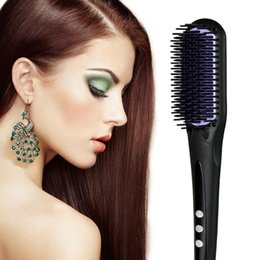 Wholesale Wholesale Knobs China - New design ceramic hair straightening irons Electric Digital fast hair straightener brush comb LCD display