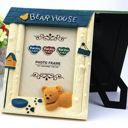 Wholesale Cute Picture Frames - Cute Cartoon Bear Baby Kids Photo Frame Plastic Picture Holder Home Decoration Bridal Wedding Favor Baby Shower Gifts ZA3174
