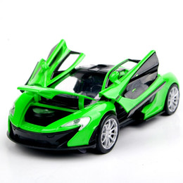 Wholesale Electronic Model Toys - Collectible Car Models 1:32 Green McLaren P1 Alloy Diecast Car Toys Electronic Pull Back Car Model Kids Toys brinquedos Gift