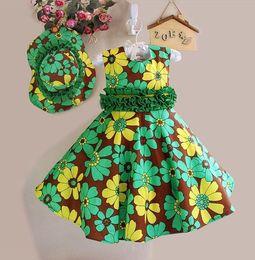 Wholesale Mini Hats Line - Baby Girls Dress Kids Flower Clothes Children Sleeveless Hat + dress 2pcs Printing Dresses Kids Party Princess Vestido WHOSEBABY