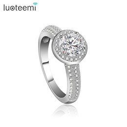 Wholesale Unique Shine - Lovely Women Unique Ring Micro Inlaid Shining Clear CZ Finger Accessories Party Jewelry White-Gold Color LUOTEEMI