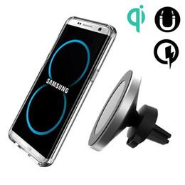 Cargador de coche inalámbrico qi online-Titular inalámbrico magnético del cargador del teléfono del teléfono estándar de la rotación QI de 360 grados para el iPhone 8 Samsung X S8 S8 S7 más S7 Edge S7