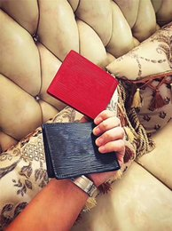 Wholesale Black Slender - With Box logo Paris Premium Red Leather Slender Wallet X Red Wallet 17ss 45 Genuine Leather Outdoor Sport Bag