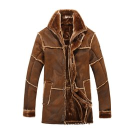 Wholesale Leather Jackets Fur Lining - Fall-Mens Fur Lined Jacket Thick Warm Winter Leather Jackets Long For Men Vintage Outerwear Overcoat Faux Suede Coats Khaki Brwon