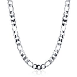 Wholesale Mens African Necklaces - 20 inch 925 Silver Plated Mens Necklace Link Chains Mens Fashion Jewelry