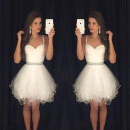 Wholesale Modern Semi Formal Dresses - Spaghetti Straps White Homecoming Dresses 2017 Beading Waistline Tiered Tulle Dresses Sweet 16 Gowns Cocktail Short Semi Formal Dresses