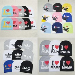 Wholesale Crochet Kids Beanie Hats - Baby Beanie Hats Skull Caps Children Cotton Crochet Hat Kids Skullcap I Love Papa Mama Dad Mom Infant Cap Free DHL 102