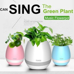 Wholesale Planter Outdoor - Bluetooth Smart Music Flower Pots Speakers Home Office Decor Planter Plant Touch Play Flowerpot Colorful Night Light Subwoofer Speaker
