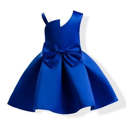 Wholesale Cheap Cotton Baby Dresses - 2017 Short Baby Blue Prom Dresses Shoulder Satin Cheap Party Wear Gowns Dress for Girls Age 3-10