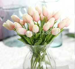 Wholesale White Mini Vases - Wholesale-16pcs lot New PU Real Touch Mini Tulips Artificial PU Flowers Wedding Home Decorative Flowers 9 color (no vase)