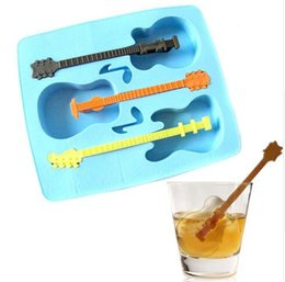 Wholesale Novelty Guitar Gifts - FBA Drop Shipping Summer Hot Sale New Ice Mould Drinking Tool Tray Mold Makes Ice Guitar Novelty Gifts Ice Tray and Cube