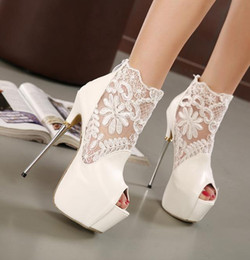 Wholesale Pu Party Boots - Chic black white super high heels hollow out open toe boots for women thin heels 16CM party shoes size 35 to 40