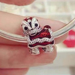 Wholesale Dance Bracelet Charms - 2017 Valentine's Day 100% 925 Sterling Silver Oriental Lion Dance Charms Beads Fit Pandora Charm Bracelets Jewelry DIY Making -