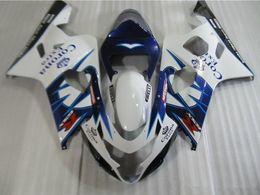 Wholesale Suzuki Motorcycle Fairings Corona - New ABS motorcycle Fairing Kits 100% Fit For Suzuki GSXR600 GSXR750 2004 2005 600 750 04 05 K4 bodywork set nice white blue corona