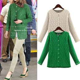 Wholesale Solid Color Boyfriend Shirt - Wholesale- YONO Fashion Women Sweater Autumn Outerwear Cardigans Knitted Shirt Hollow Out Blusas Europe Boyfriend Feminino Plus Size 5XL
