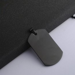 Wholesale Wholesale Army Dog Tags - Hot Black color Stainless Steel Army Dog Tags Charms Men Boy Fashion Pendants Jewelry Findings & Components