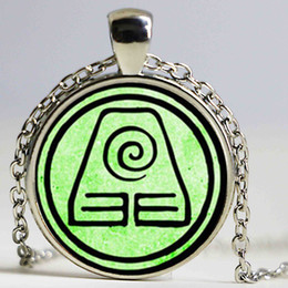 Wholesale Crystal Earth Jewelry - Avatar The Last Airbender - Two Choice Jewelry- Earth Kingdom Necklace Glass Dome Pendant Necklace