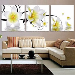 Wholesale Oil Painting Framed Landscape Yellow - Framed 3PCS Beautiful White And Yellow Plumeria,Pure Handpainted Huge Modern fashion home Wall Deco Art Oil Painting canvas Multi sizes a-ho