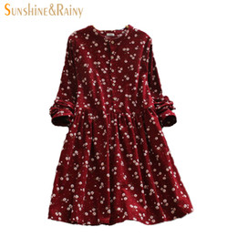 0d5984bb9bde5 Wholesale- 2016 Japanese korean style long sleeved autumn fall all match  fashion small flowers print floral fashion corduroy woman dress