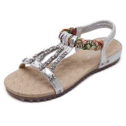Wholesale Tpr Sole Sandals - New Women's Sandals Bohemian Diamond Drill Shoes Comfortable Soft Sole Summer Shoes Sweet String Bead. LX-034