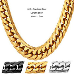 Wholesale Twisted Link Chain Stainless Steel - 316L Stainless Steel High Polished Twisted Curb Cuban Link Chain Necklace For Men's Hip Hop Punk Jewelry 55cm*1.3cm