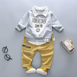 Wholesale Wholesale Little Boys Jeans - Little Boys Shirt Collar Letter Tee+Jeans Outfits 2017 Fall Kids Boutique Clothing 9m-3T Baby Boys Long Sleeves Tops 2 Pieces Set