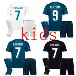 Wholesale Boys Sets Yellow - 2017 2018 Real Madrid Kids home Away jerseys 17 18 Real Madrid Kids set RONALDO BENZEMA ISCO BALE SERGIO RAMOS MORATA ASENSIO NAVAS shirt
