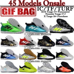 Wholesale Tango Media - Original Turf Football Shoes High Ankle ACE 17 Purecontrol Indoor Soccer Boots Brands X 16 Soccer Cleats Nemeziz Tango 17.3 TF IC Turf Shoes