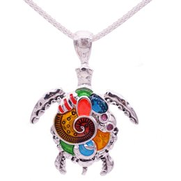 Wholesale Bright Christmas - Wholesale- Fashion Animal Turtle Necklace & Pendants Bright Colors Enamel Tortoise Multi Necklace Women Sea Jewelry Anime Christmas Gifts