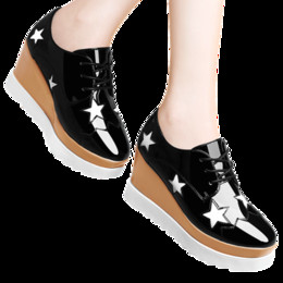 Wholesale Thick Platform Sneakers - Free-shipping Fashion Lady's Wedge Platform Lacing Sports Sneakers Patent leather Women's Spring thick heel Round toe Casual shoes in 35-39