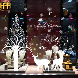 Wholesale Cartoon Backdrops - Christmas Decorations Christmas Stickers Removable Wall Stickers Xmas Decorator New Year Window Backdrop Decor Moose Snowflake 60*90Cm