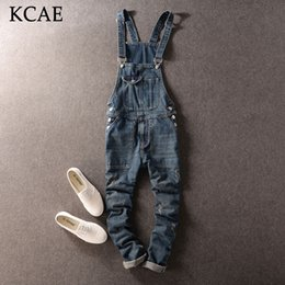 Wholesale Suspender Jeans Overalls - Wholesale-Fashion Casual Men's Cool Ripped Hole Blue Denim Overalls Male Jeans Jumpsuits Suspenders Trousers For Man plus size M-XXL