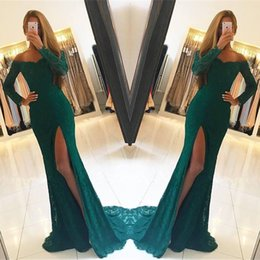 gold teal prom dresses Coupons - 2018 Dark Teal Off Shoulder Split Side High Front Prom Dresses With V Neck Long Sleeves Full Lace Evening Gowns For Party
