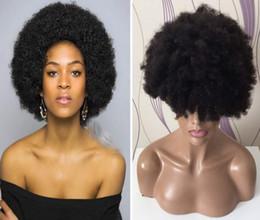 pelucas del cordón del pelo indio negro burdeos Rebajas La mejor calidad cabello virgen 100 cabello humano Afro Curl peluca llena del cordón para la mujer negra joven y dinámica envío gratis