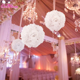 Wholesale Hanging Flowers For Parties - 18cm Diameter Silk Rose Flower Ball Artificial Bouquet Kissing Ball for Wedding Party Decoration Decorative Flowers
