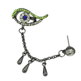 Wholesale Silver Screw Eye - Elegant Fashion Ear Cuff Steampunk Style Gunblack Chain with Rhinestone Eye Tear Clip Earrings for Women 1pcs