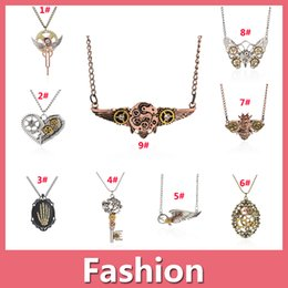 Wholesale Sterling Silver Necklace Owl - Shipppoing Free Assorted Models Vintage Steampunk Owl Butterfly Anchor Heart Gear Eagle Pendant Necklace Retro Punk Jewelry For Men Women 01