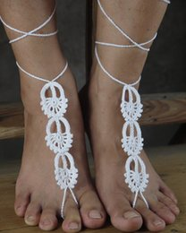 Wholesale Nude Crochet - Crochet Barefoot Sandals Anklets Barefoot Sandles Foot Jewelry Steampunk Victorian Beach Nude Shoes Lace Anklets -13 colors