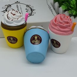 Wholesale Universal Coffee - New Arrival Ice Cream Squishies Coffee Cup Squishy Toys Slow Rising Cute Kid Toy Scented Soft Squeeze Gift Phone Straps Free DHL