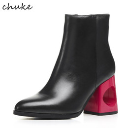 Wholesale Rose Zip - Rose Strange Heels Black Ankle Boots Women Genuine Leather Pointed Toe Simple Martin Boots Spring Autumn Fashion Short Boots
