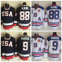 usa hockey trikots Rabatt 2010 Olympisches Team USA Hockey Trikots 88 Patrick Kane 9 Zach Parise Weiß Marineblau USA genäht Hockey Jersey S-XXXL